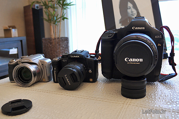 Panasonic FZ18, G1 un Canon EOS 1Ds Mark III