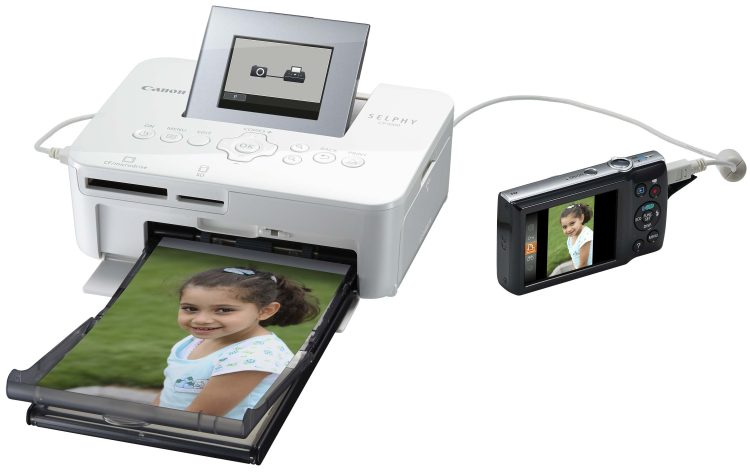 SELPHY CP1000 Connected Camera Postcard Tray LCD Up White